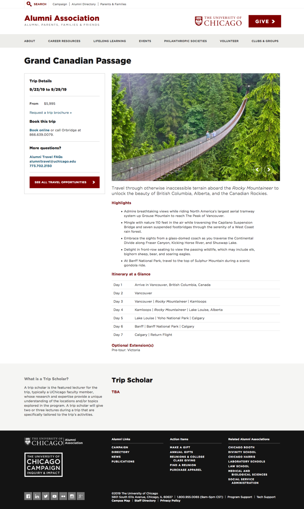 Alumni travel web page, built in Drupal with given content