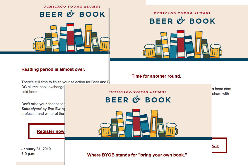 Sample - Beer and Book Young Alumni event marketing emails