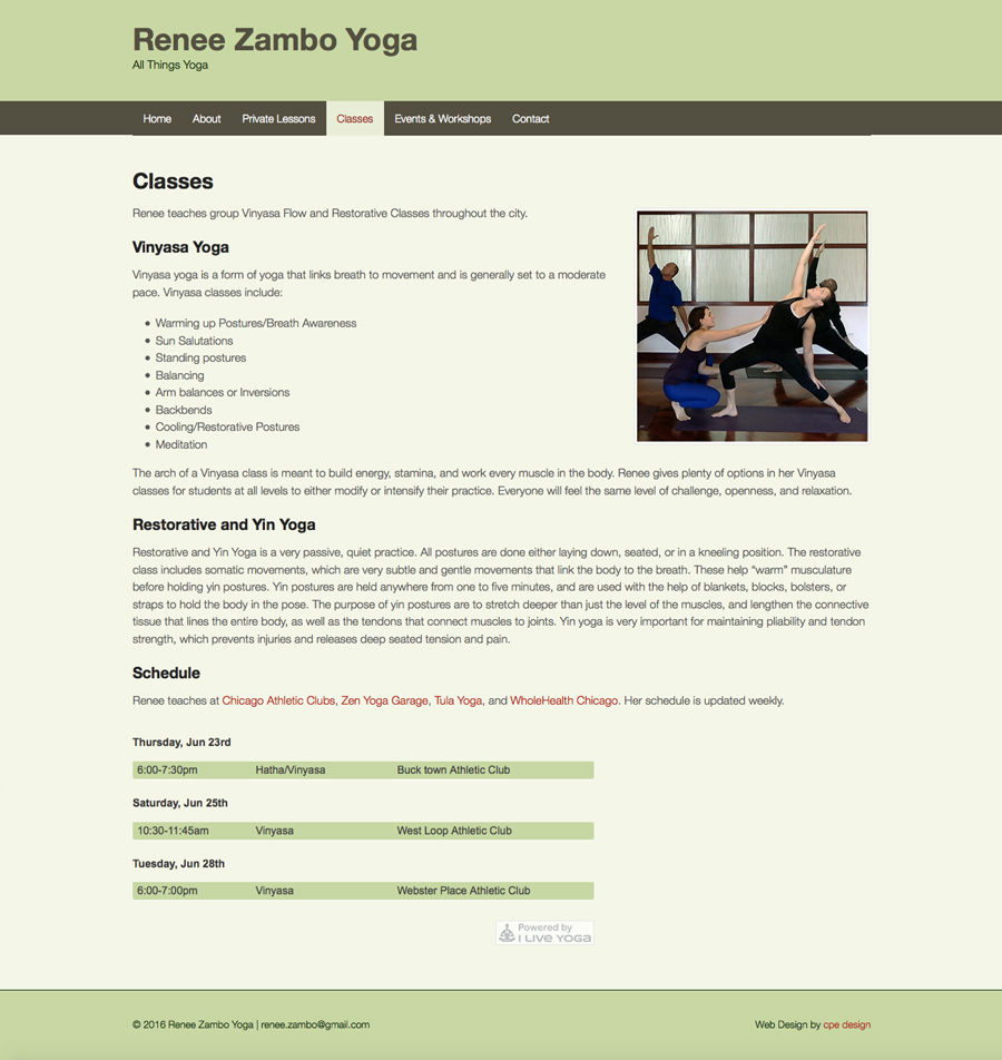Zambo Yoga - Classes Page. Technology - WordPress, CSS, Adobe PhotoShop