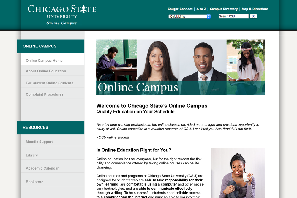Chicago State University Online Campus - detail of homepage