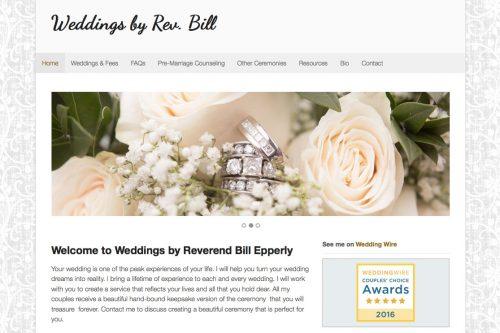 Weddings by Rev Bill - detail of homepage