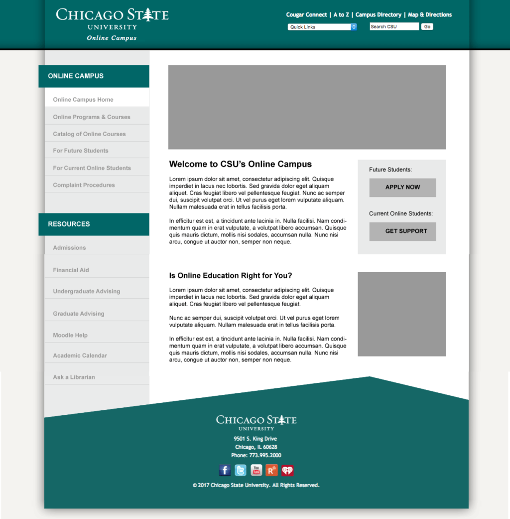 homepage mock-up following the CSU website template, Adobe Illustrator