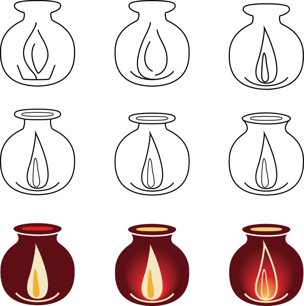 Logo development. Client's concept was an African cooking pot, to represent women holding a burning candle, to represent leadership and transformation. The top line shows the development of a stylized flame burning in an oil lamp enclosed by a cooking pot. The middle row shows the development of the cooking pot to look like a traditional African cooking pot. And the bottom row shows the addition of color. Illustrator.