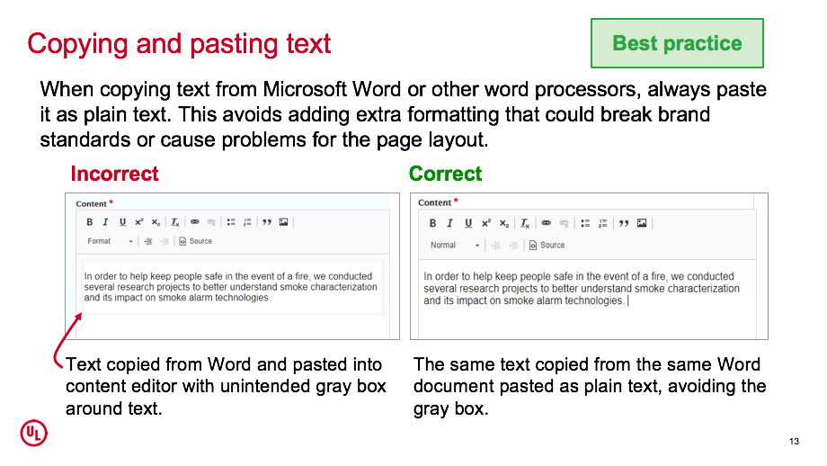 Copying and pasting text