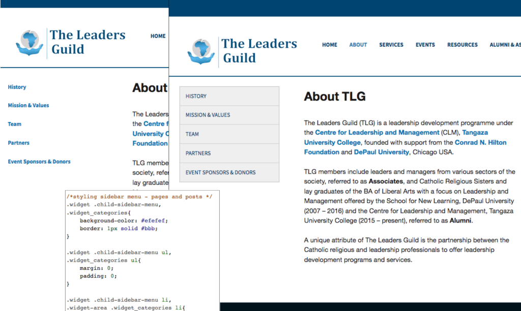 The Leaders Guild - sample of CSS styling