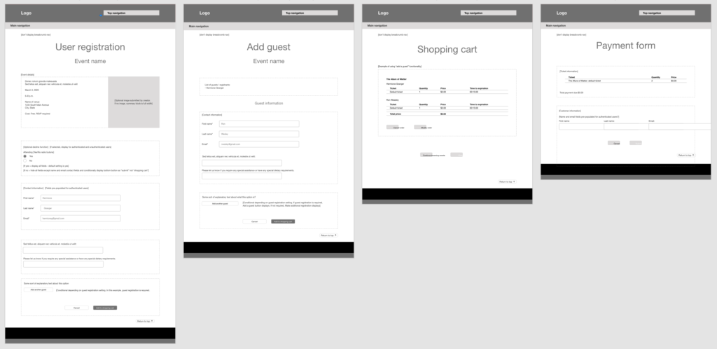 4 wireframe sketches showing event registration sequence from registration to shopping cart to payment