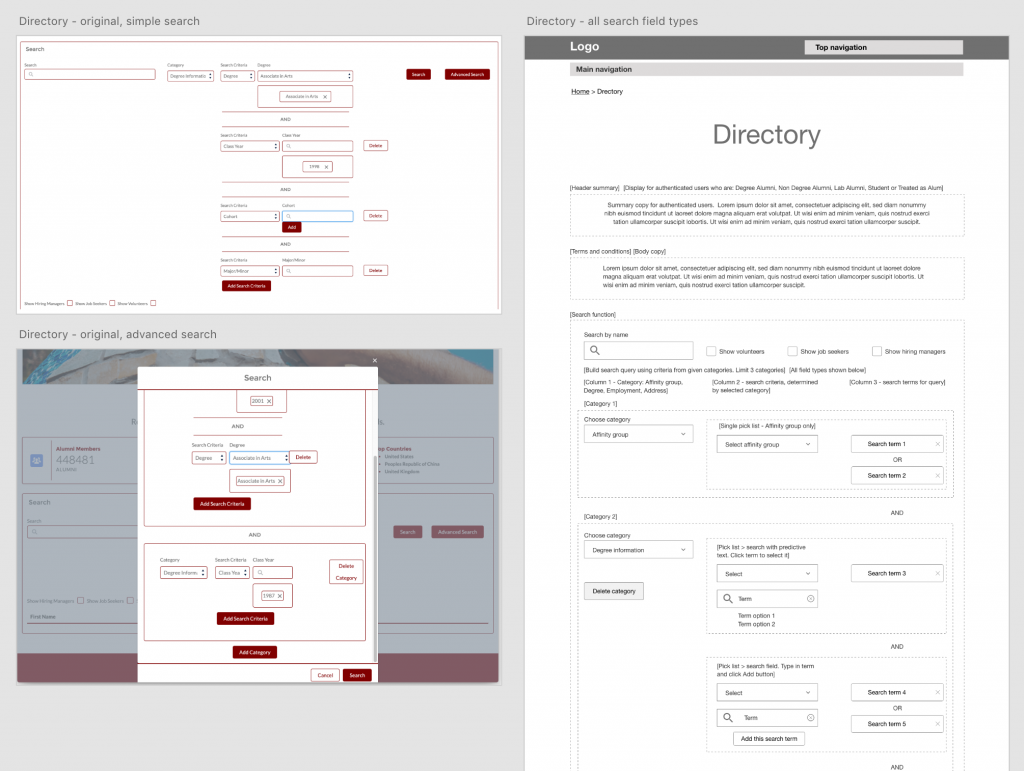 Screen shots of orginal Salesforce screens and wireframe sketch of final design