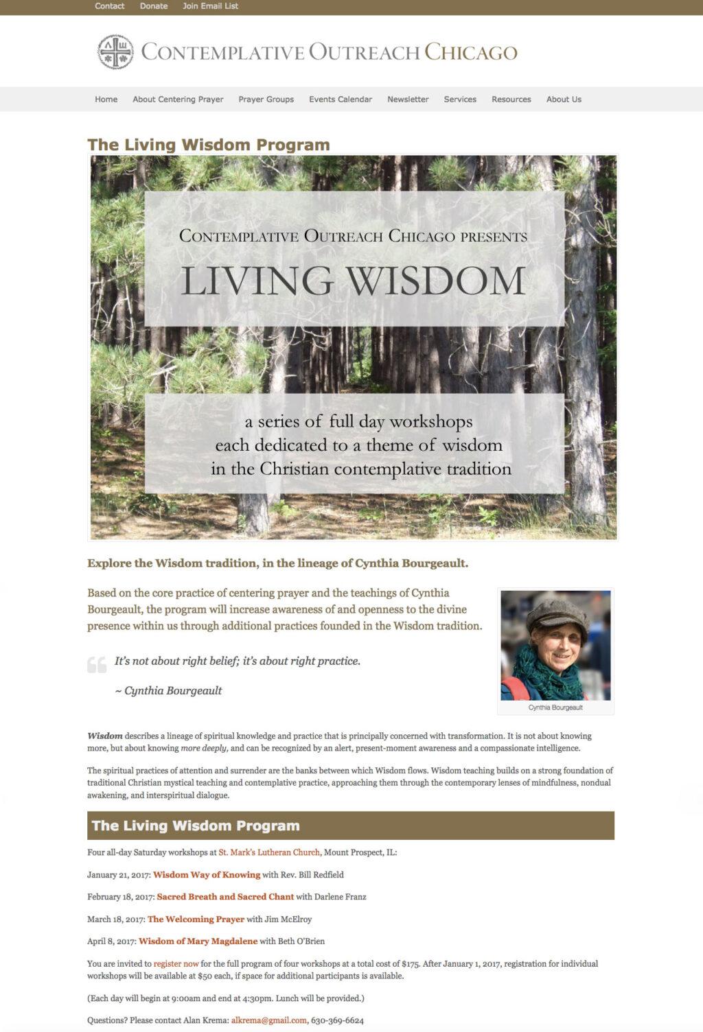 Contemplative Outreach Chicago, Living Wisdom