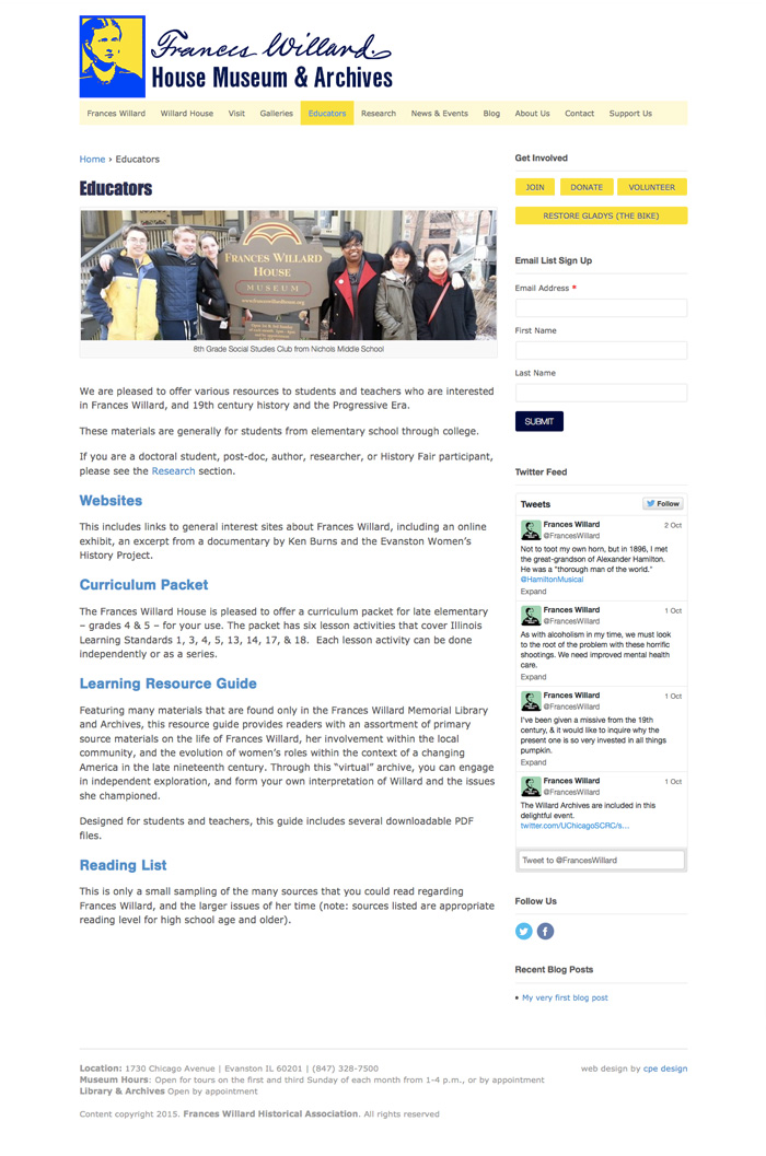 Topic Page - Educators section