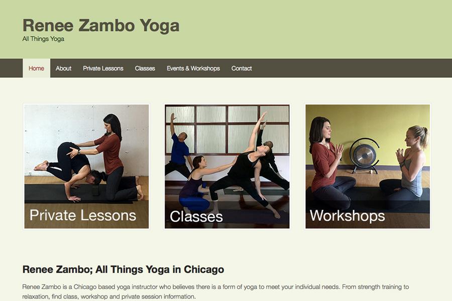 Renee Zambo Yoga; detail of homepage