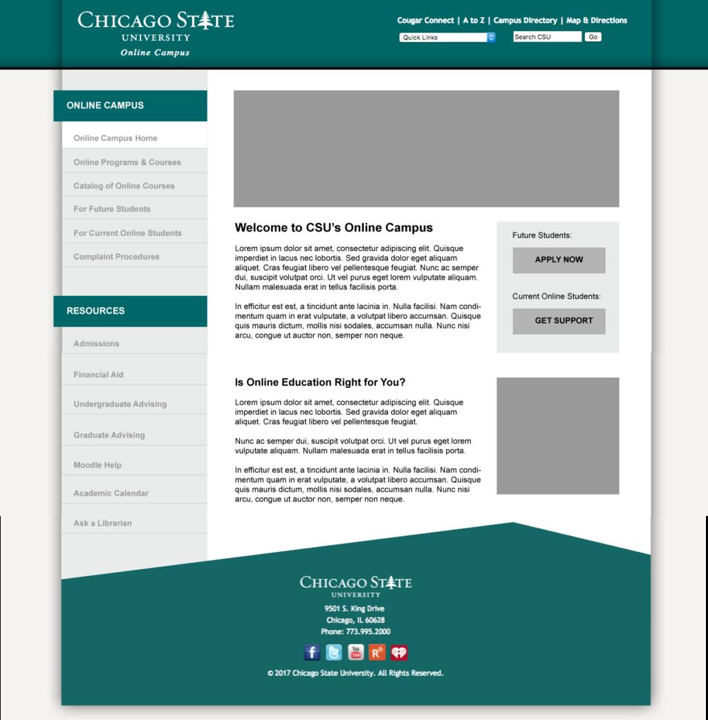 homepage mock-up following the CSU website template, Adobe Illustrator
