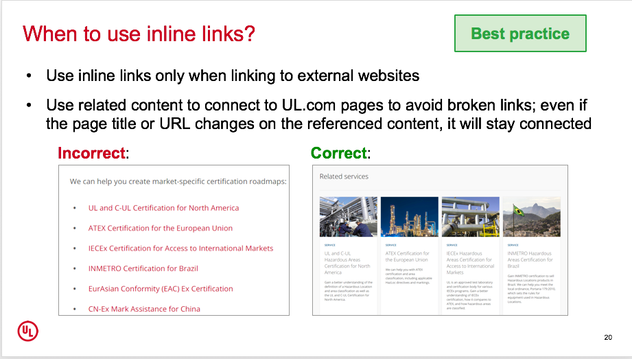 When to use inline links?