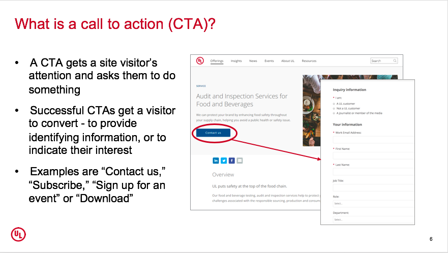 What is a call to action (CTA?)